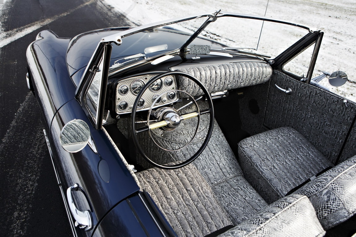 Unique snake skin patterned classic car interior to compliment the gorgeous blue exterior this car reflected the flamboyance of muntz himself